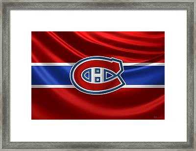 Montreal Canadiens - 3 D Badge Over Silk Flag Framed Print by Serge Averbukh