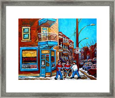 Montreal City Scene Hockey At Wilenskys Framed Print by Carole Spandau