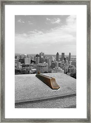 Montreal Cityscape Bw With Color Framed Print