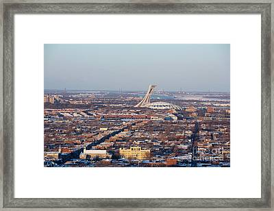 Montreal Cityscape With Olympic Stadium Framed Print by Jane Rix
