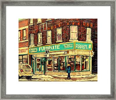 Montreal Cityscenes By Streetscene Artist Carole Spandau Framed Print by Carole Spandau