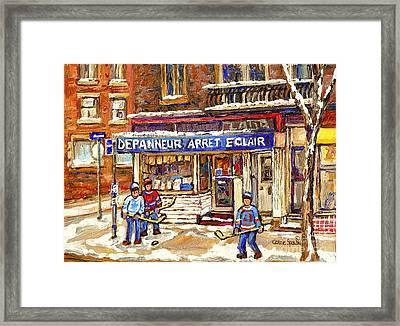 Montreal Corner Depanneur Arret Verdun Painting Street Hockey Art Scene Canadian Art Carole Spandau Framed Print