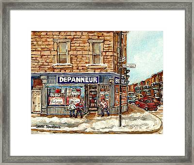 Montreal Corner Depanneur With Hockey Art Verdun Winter City Scene Canadian Painting Carole Spandau  Framed Print by Carole Spandau