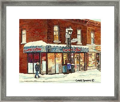 Montreal Corner Poutine Lafleur Street Hockey Winter Scene Canadian Art For Sale Carole Spandau      Framed Print by Carole Spandau