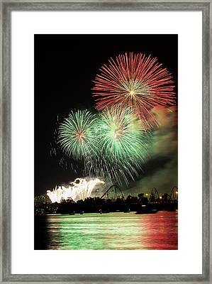 Montreal-fireworks Framed Print by Mircea Costina Photography