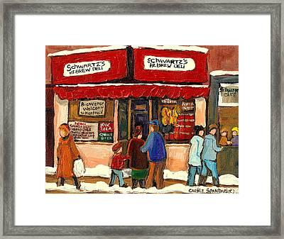 Montreal Hebrew Delicatessen Schwartzs By Montreal Streetscene Artist Carole Spandau Framed Print by Carole Spandau