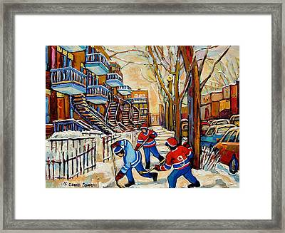Montreal Hockey Game With 3 Boys Framed Print by Carole Spandau