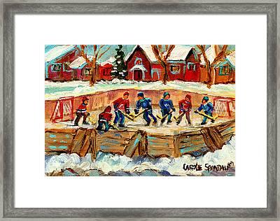 Montreal Hockey Rinks Urban Scene Framed Print