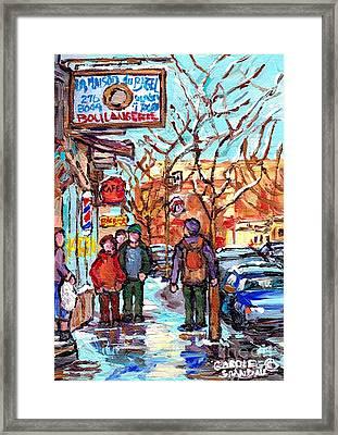 Montreal Landmark Marquee St Viateur Bagel Sign Snowy Winter Walk Canadian Artist Carole Spandau     Framed Print by Carole Spandau
