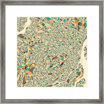 Montreal Map Framed Print by Jazzberry Blue