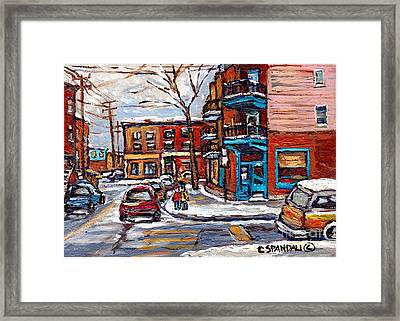 Montreal Memories Painting Rue Fairmount And Clark Wilensky Winter Scene Best Canadian Original Art  Framed Print
