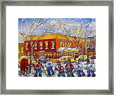 Montreal Memories Winter City Scene Tasty Food Pizza Parking Lot Hockey Game Canadian Art C Spandau  Framed Print