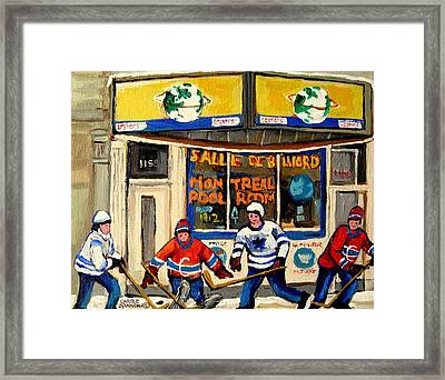 Montreal Poolroom Hockey Fans Framed Print