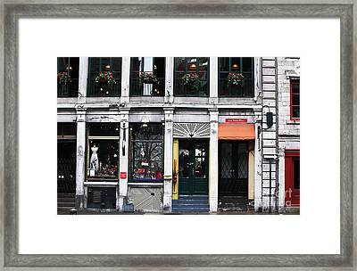 Montreal Shops Framed Print by John Rizzuto