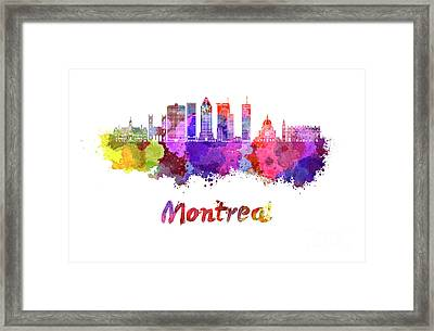 Montreal Skyline In Watercolor Splatters Framed Print