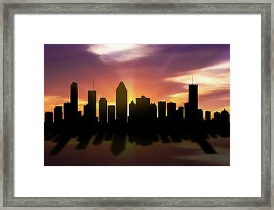 Montreal Skyline Sunset Caqcmo22 Framed Print by Aged Pixel
