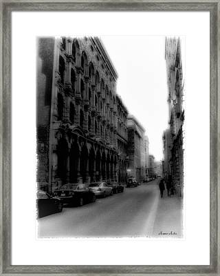 Montreal Street Black And White Framed Print