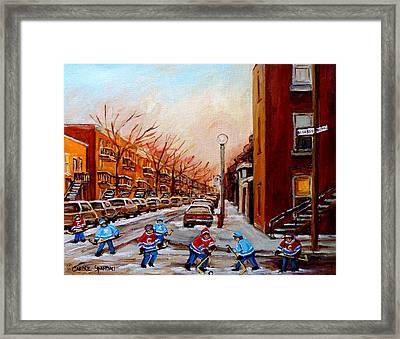 Montreal Street Hockey Game Framed Print by Carole Spandau