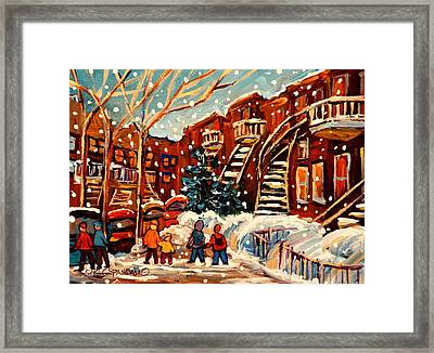 Montreal Street In Winter Framed Print by Carole Spandau