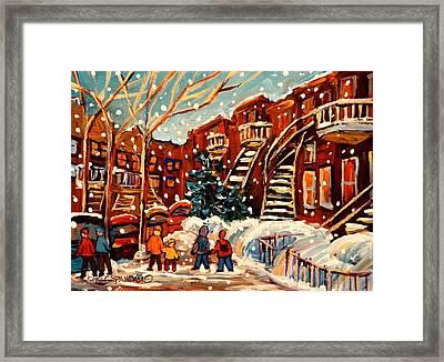 Montreal Street In Winter Framed Print