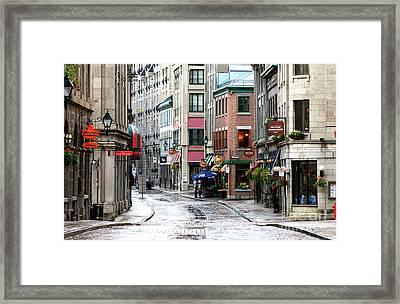 Montreal Street Scene Framed Print by John Rizzuto