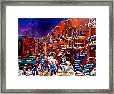 Montreal Street Scene Paintings Hockey On De Bullion Street   Framed Print by Carole Spandau