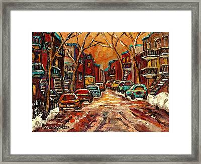 Montreal Streets In Winter Framed Print by Carole Spandau