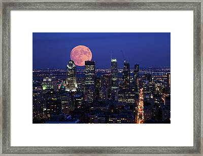 Framed Print featuring the photograph Montreal Supermoon by Mircea Costina Photography