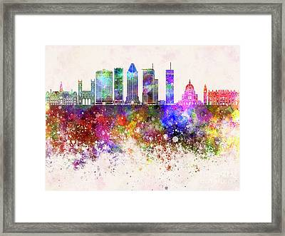 Montreal V2 Skyline In Watercolor Background Framed Print