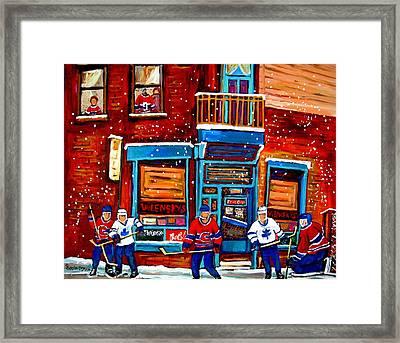 Montreal Wilensky Deli By Carole Spandau Montreal Streetscene And Hockey Artist Framed Print by Carole Spandau
