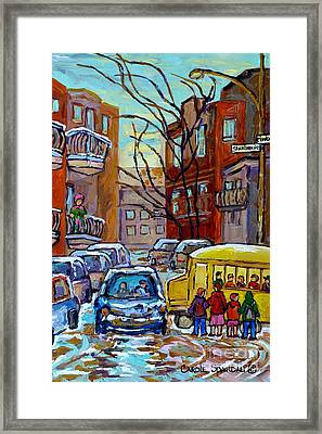 Montreal Winter City Scene With Yellow School Bus Canadian Painting Carole Spandau                   Framed Print
