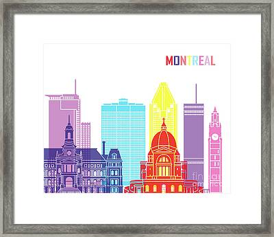 Montreal_v2 Skyline Pop Framed Print