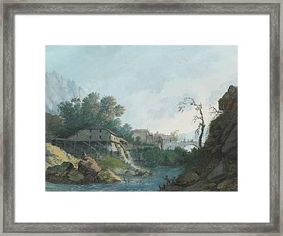 Montreux Muhle Und Brucke Framed Print by Louis Albert Guislain Bacler d'Albe