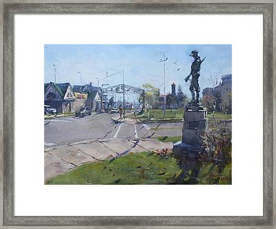 Monument At Pine Ave And Portage Rd Framed Print by Ylli Haruni