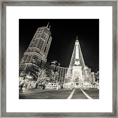 Monument Circle At Christmas - Sepia Framed Print by Gregory Ballos