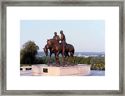 Monument In Nauvoo Illinois Of Hyrum And Joseph Smith Riding Their Horses Framed Print by Kim Corpany