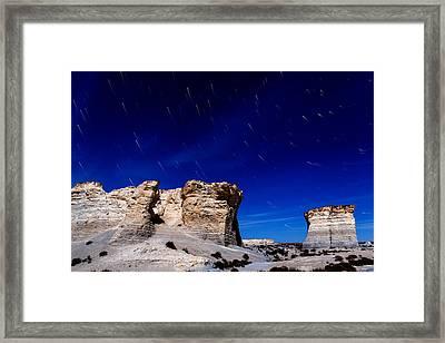 Monument Rocks Moonlight Framed Print