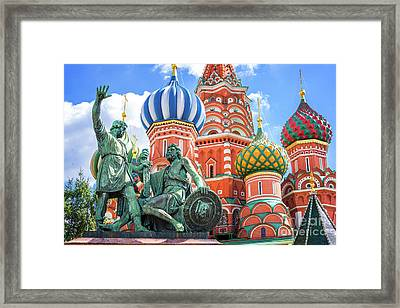 Monument To Minin And Pozharsky Framed Print by Delphimages Photo Creations