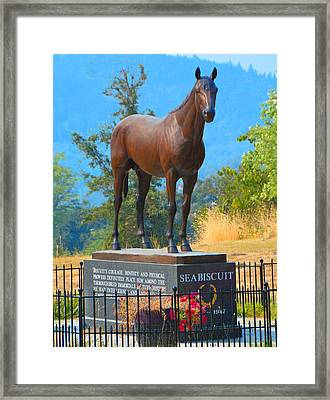 Monument To Seabiscuit Framed Print by Josephine Buschman