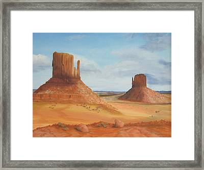 Monument Valley    The Mittens Framed Print by Philip Hall