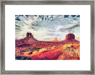 Monument Valley Art - Colorful Painting Framed Print by Wall Art Prints
