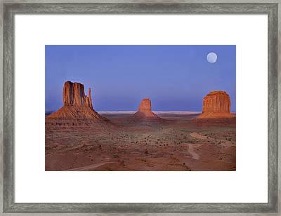 Monument Valley At Dusk Framed Print by Joel P Black