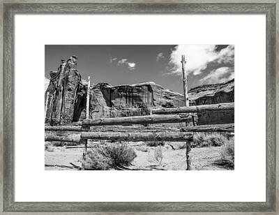 Fence In Monument Valley - Bw Framed Print