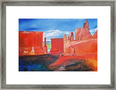 Framed Print featuring the painting Monument Valley  by Eric  Schiabor