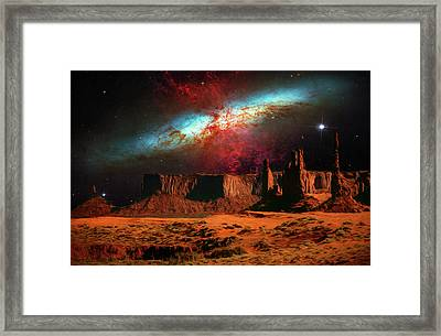 Monument Valley In Space Framed Print by Mike Penney