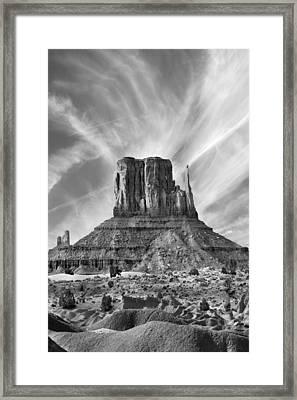 Monument Valley - Left Mitten 2bw Framed Print by Mike McGlothlen