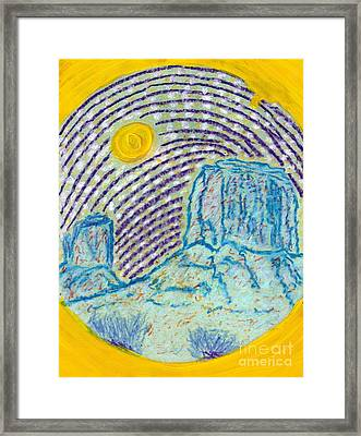 Framed Print featuring the painting Monument Valley October Moon by Richard W Linford