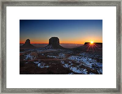 Monument Valley Sunrise Framed Print by Edwin Verin