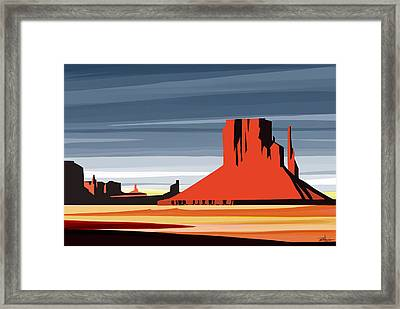 Monument Valley Sunset Digital Realism Framed Print