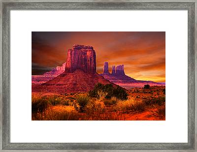 Monument Valley Sunset Framed Print by Harry Spitz